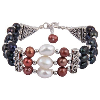 7 Inches Cultured Freshwater Pearl Trendy Bracelet Jewelry for Women - White