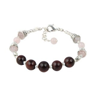 Pearlz Ocean Red Tiger's Eye and Rose Quartz 7 Inches Gemstone Trendy Bracelet Jewelry for Women