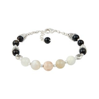 "Pearlz Ocean Peach Moon Stone and Blue Tiger's Eye 7"" Gemstone Trendy Bracelet Jewelry for Women"