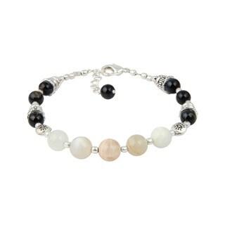 "Pearlz Ocean Peach Moon Stone and Blue Tiger's Eye 7"" Gemstone Trendy Bracelet Jewelry for Women"