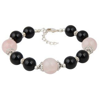 Pearlz Ocean Black Agate and Rose Quartz 7 Inches Gemstone Trendy Bracelet Jewelry for Women