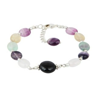 Pearlz Ocean Fluorite Multi Color and Black Agate 8 Inches Gemstone Trendy Bracelet Jewelry for Women
