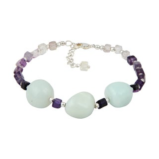 Pearlz Ocean Mesmerizing Fluorite Multi Color and Amazonite 8 Inches Gemstone Trendy Bracelet Jewelry for Women
