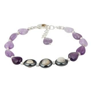 Pearlz Ocean Splendid Amethyst and Hematite 8 Inches Gemstone Trendy Bracelet Jewelry for Women