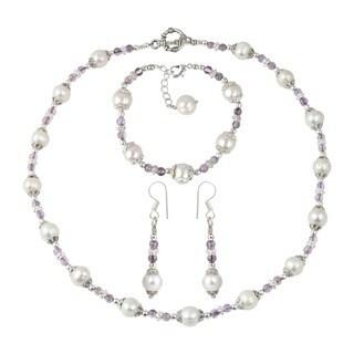 Pearlz Ocean White Cultured Freshwater Pearl Amethyst Brazilian Necklace Earrings and Bracelet Jewelry Set for Women