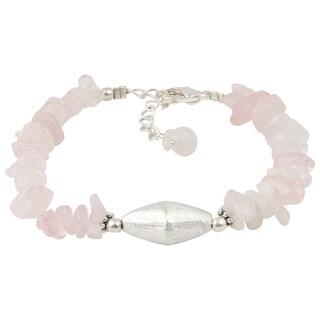 Pearlz Ocean Rose Quartz 8 Inches Gemstone Trendy Bracelet Jewelry for Women - Pink