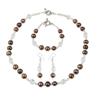 Pearlz Ocean Dyed Chocolate Cultured Freshwater Pearl White Crystal Necklace Earrings & Bracelet Jewelry Set for Women