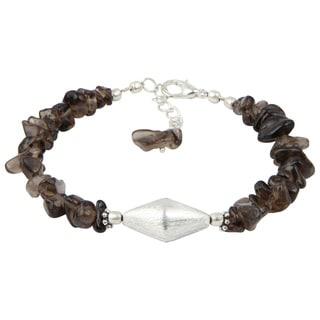 Pearlz Ocean Intrigue Smokey Quartz 8 Inches Gemstone Trendy Bracelet Jewelry for Women