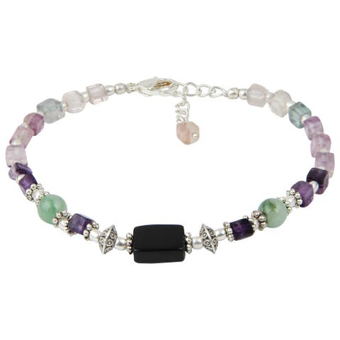 Pearlz Ocean Attention Grabbing Black Agate and Fluorite Multi Color 8 Inches Gemstone Trendy Bracelet Jewelry for Women - Green