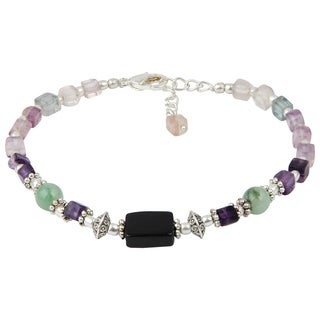 Pearlz Ocean Attention Grabbing Black Agate and Fluorite Multi Color 8 Inches Gemstone Trendy Bracelet Jewelry for Women