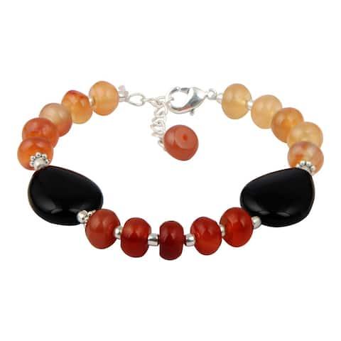 Pearlz Ocean Stunning Carnelian and Black Agate 8 Inches Gemstone Trendy Bracelet Jewelry for Women - Orange