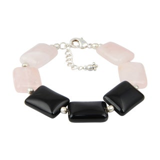 Pearlz Ocean Gorgeous Black Agate and Rose Quartz 8 Inches Gemstone Trendy Bracelet Jewelry for Women