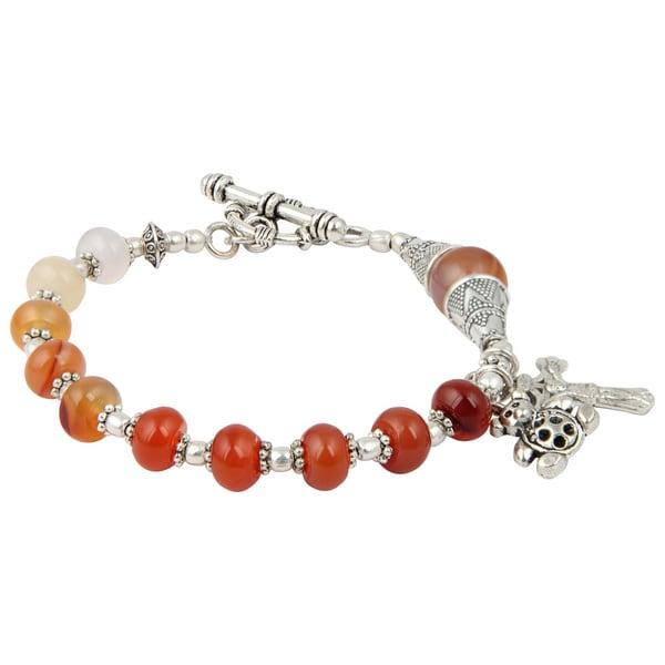 Pearlz Ocean Fascinate Carnelian 7 Inches Gemstone Trendy Charm Bracelet Jewelry For Women Orange