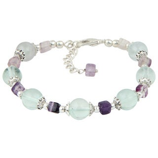 Pearlz Ocean Contentment Green Fluorite and Fluorite Multi Color 8 Inches Gemstone Trendy Bracelet Jewelry for Women