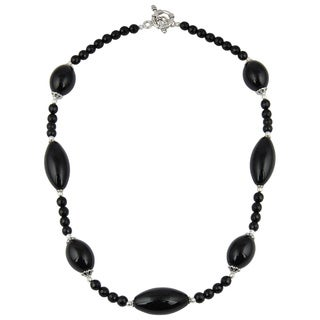 Pearlz Ocean Pleasing Black Agate Gemstone Beads 20 Inches Trendy Necklace Jewelry for Women