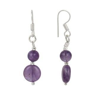 Pearlz Ocean Amethyst Gemstone Beads Trendy Earrings Jewelry for Women - Purple