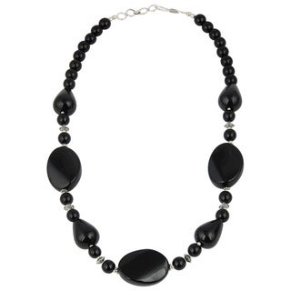 Pearlz Ocean Alluring Black Agate Gemstone Beads 18 Inches Trendy Necklace Jewelry for Women