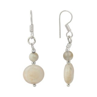 Pearlz Ocean White Moon Stone and Peach Moon Stone Gemstone Beads Trendy Earrings for Women