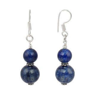 Pearlz Ocean Dyed Lapis Lazuli Gemstone Beads Trendy Earrings Jewelry for Women - Blue