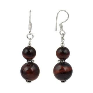Pearlz Ocean Red Tiger's Eye Gemstone Beads Trendy Earrings Jewelry for Women