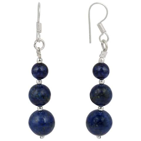 Pearlz Ocean Dyed Lapis Lazuli Gemstone Beads Trendy Earrings for Women - Blue