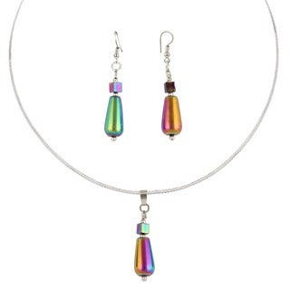 Pearlz Ocean Lady Love 2.5 Inch Rainbow Hematite Beads Pendant & Earrings Trendy Jewelry Set for Women