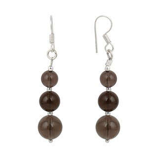 Pearlz Ocean Smokey Quartz Gemstone Beads Trendy Earrings Jewelry for Women - Black