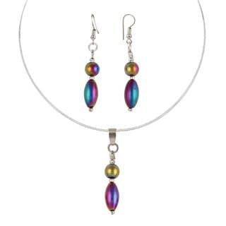 Pearlz Ocean Aurum Rainbow Hematite Bead 2.5 Inch Pendant & Earring Trendy Jewelry Set for Women