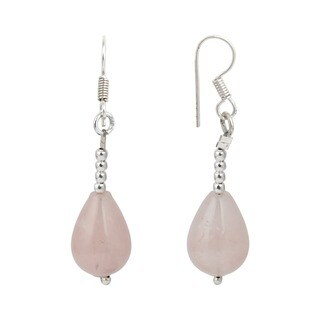 Pearlz Ocean Rose Quartz Gemstone Beads Trendy Earrings Jewelry for Women - Pink