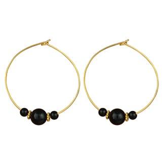 Pearlz Ocean Black Agate and Black Onyx Gemstone Beads Trendy Earrings for Women