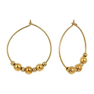 Pearlz Ocean Coated Dark Yellow Hematite Gemstone Beads Trendy Earrings for Women