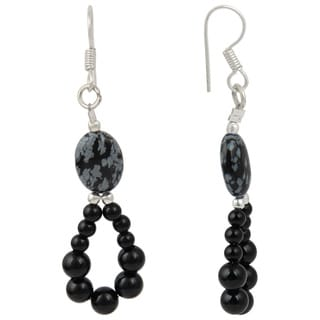 Pearlz Ocean Black Agate and Snow Flake Gemstone Beads Trendy Earrings Jewelry for Women