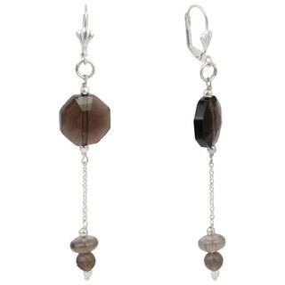 Pearlz Ocean Smokey Quartz Gemstone Beads Trendy Earrings Jewelry for Women