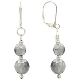 Pearlz Ocean Black Rutilated Quartz Gemstone Beads Trendy Earrings Jewelry for Women
