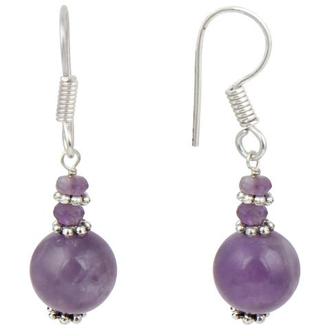 Pearlz Ocean Amethyst And African Amethyst Faceted Gemstone Beads Trendy Earrings Jewelry for Women - Purple
