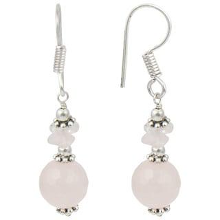 Pearlz Ocean Rose Quartz Gemstone Beads Trendy Earrings Jewelry for Women