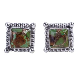Handcrafted Sterling Silver 'Magical Green' Turquoise Earrings (India)