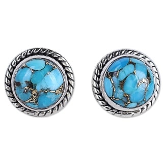 Handcrafted Sterling Silver 'Cool Aqua Radiance' Turquoise Earrings (India)