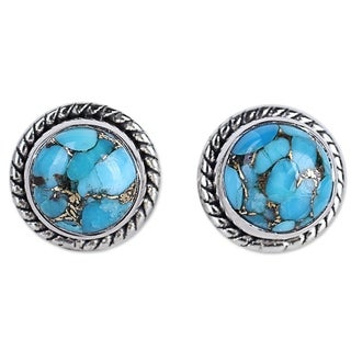 Handmade Sterling Silver 'Cool Aqua Radiance' Turquoise Earrings (India)