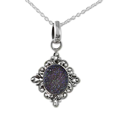 Handmade Sterling Silver 'Majestic Mirror' Drusy Quartz Necklace (India)