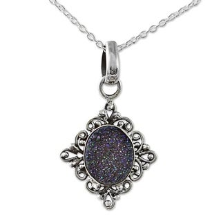 Handcrafted Sterling Silver 'Majestic Mirror' Drusy Quartz Necklace (India)