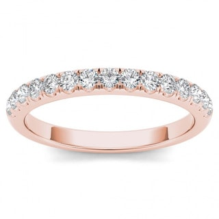De Couer 10k Rose Gold 1/3ct TDW Wedding Band - Pink