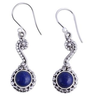 Handcrafted Sterling Silver 'Marina' Lapis Lazuli Earrings (India)