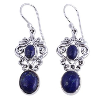 Handcrafted Sterling Silver 'Whimsical Tendrils' Lapis Lazuli Earrings (India)