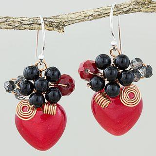 Handmade Sterling Silver 'Love Garden in Red' Quartz Onyx Earrings (Thailand)
