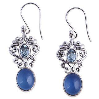 Handmade Sterling Silver 'Harmonious Blue' Chalcedony Topaz Earrings (India)