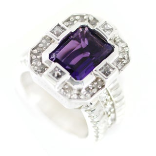 One-of-a-kind Michael Valitutti Emerald Cut Amethyst and White Sapphire Cocktail Ring
