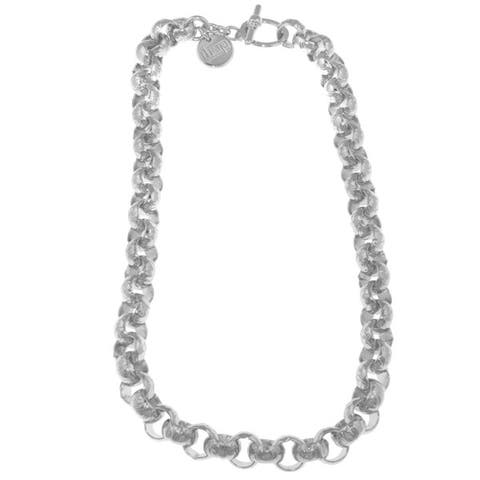 Isla Simone - Sterling Silver And White Bronze Plated Rolo Chain Necklace