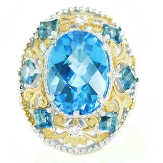 One-of-a-kind Michael Valitutti London Blue Topaz, Swiss Blue Topaz and White Sapphire Cocktail Ring