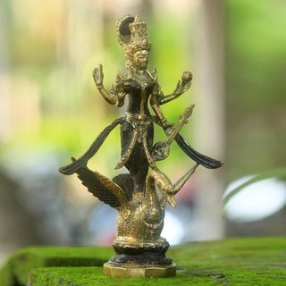 Handcrafted Bronze 'Goddess of Knowledge' Hindu Sculpture (Indonesia)